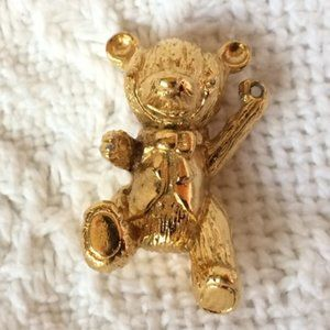 24K goldplate VTG Franklin Mint Teddy Bear Pendant